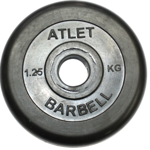 Диски обрезиненные чёрного цвета  31 мм 1,25 кг
