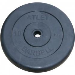Диски обрезиненные, 10 кг чёрного цвета, 26 мм, Atlet MB-AtletB26-10