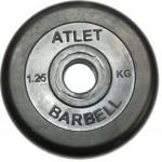 Диски обрезиненные, 1,25 кг чёрного цвета, 26 мм, Atlet MB-AtletB26-1,25