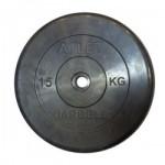 Диски обрезиненные, 15 кг чёрного цвета, 26 мм, Atlet MB-AtletB26-15
