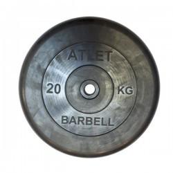 Диски обрезиненные, 20 кг чёрного цвета, 26 мм, Atlet MB-AtletB26-20