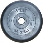 Диски обрезиненные, 2,5 кг чёрного цвета, 26 мм, Atlet MB-AtletB26-2,5