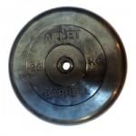 Диски обрезиненные, 25 кг чёрного цвета, 26 мм, Atlet MB-AtletB26-25