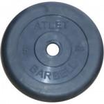 Диски обрезиненные, 5 кг чёрного цвета, 26 мм, Atlet MB-AtletB26-5