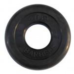 Диски обрезиненные, 1,25 кг чёрного цвета, 50 мм, Atlet MB-AtletB50-1,25