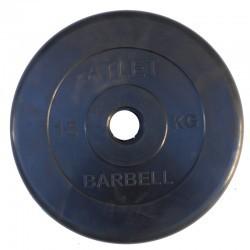 Диски обрезиненные, 15 кг чёрного цвета, 50 мм, Atlet MB-AtletB50-15
