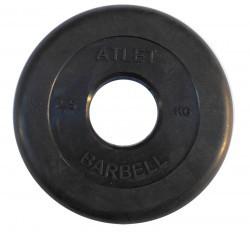 Диски обрезиненные, 2,5 кг чёрного цвета, 50 мм, Atlet MB-AtletB50-2,5